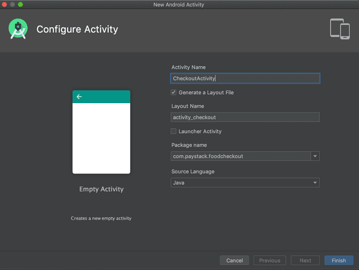 Screenshot of Android Studio when creating the Checkout Activity