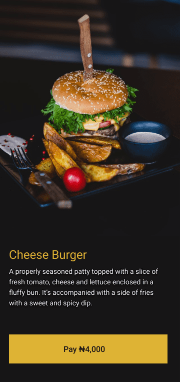 Main Activity containingthe picture of a cheese burger and it's description